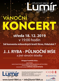Velký vánoční koncert pěveckého sboru Lumír 2019- Brno -Konvent Milosrdných bratří, Vídeňská 7, Brno
