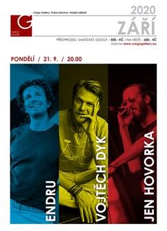 Endru & Vojtěch Dyk & JeN Hovorka na lodi- Praha -Cargo Gallery - Smíchovská náplavka, Hořejší nábřeží, Praha