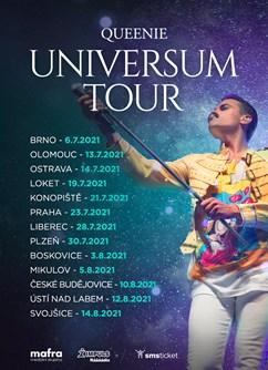 Queenie Universum Tour 2021- koncert České Budějovice -Letní kino Háječek, Františka Antonína Gerstnera 8/4, České Budějovice
